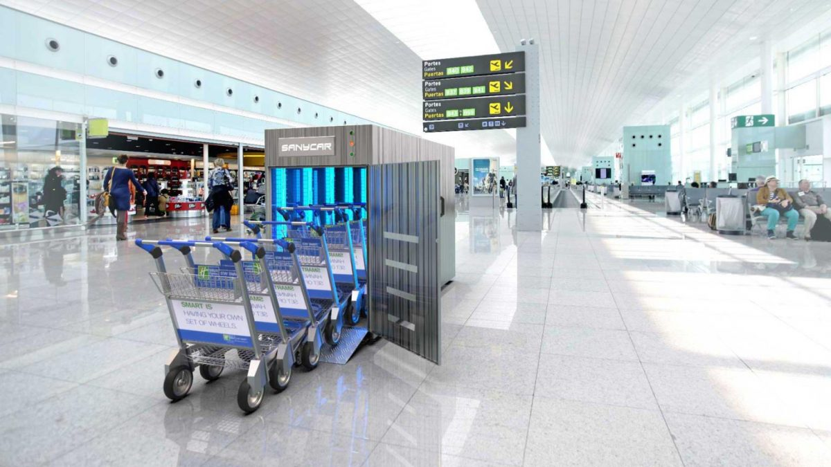 trolleys being disinfected by uvc light in airports